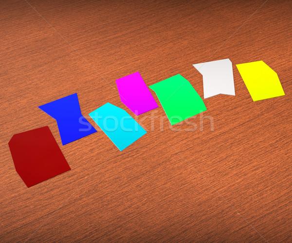 Seven Blank Paper Slips Show Copyspace For 7 Letter Word Stock photo © stuartmiles