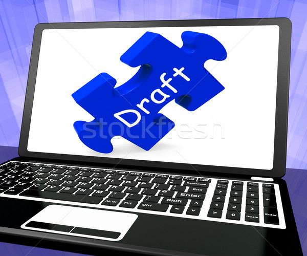 Draft Laptop Shows Online Outline Document Or Letter Email Stock photo © stuartmiles