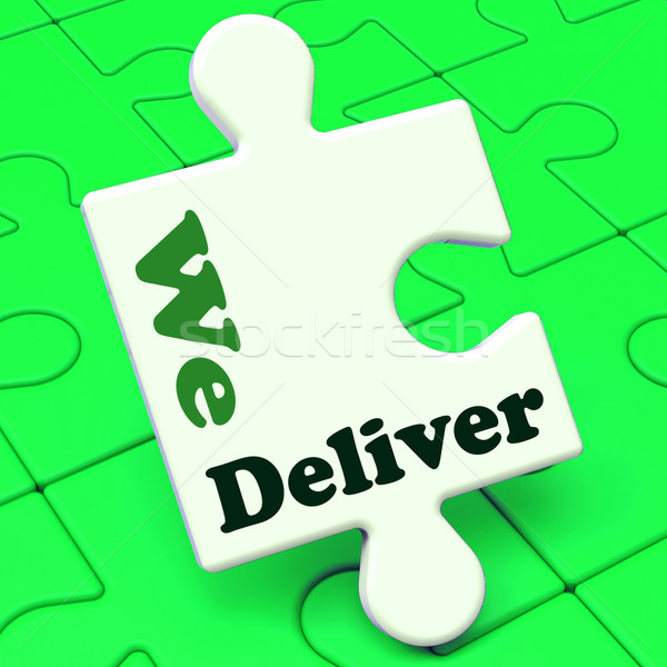 We Deliver Puzzle Showing Delivery Shipping Service Or Logistics Stock photo © stuartmiles