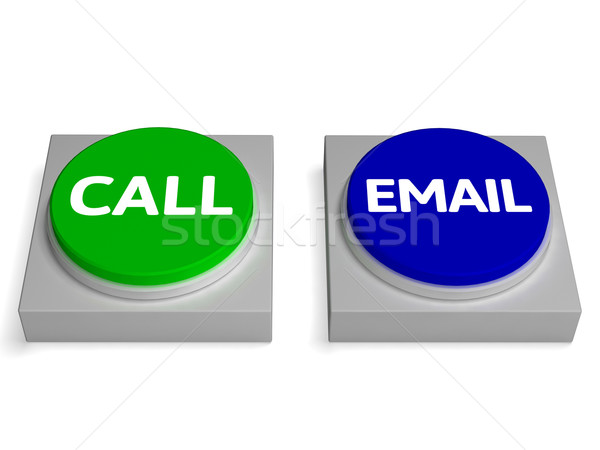 Call Email Buttons Shows Calling Or Emailing Stock photo © stuartmiles
