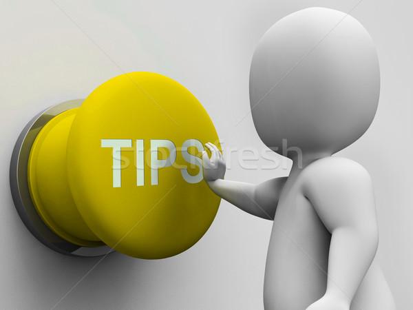 Tippek gomb útmutatás tanács mutat Stock fotó © stuartmiles