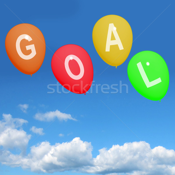 Four Goal Balloons Represent Promoted Wishes Dreams Goals and ho Stock photo © stuartmiles