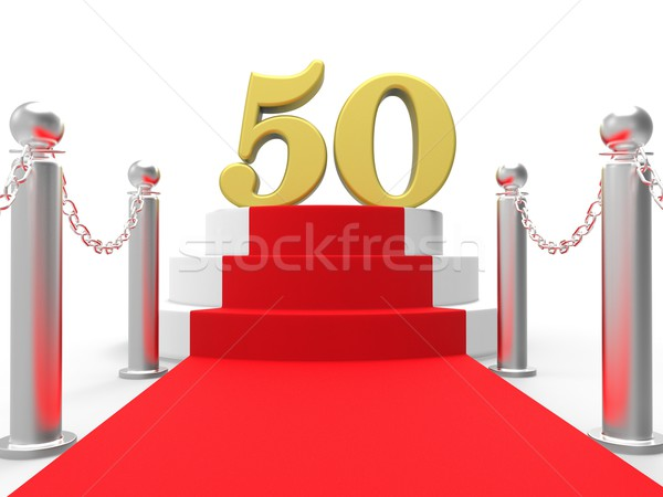 Golden Fifty On Red Carpet Shows Fiftieth Cinema Anniversary Or  Stock photo © stuartmiles