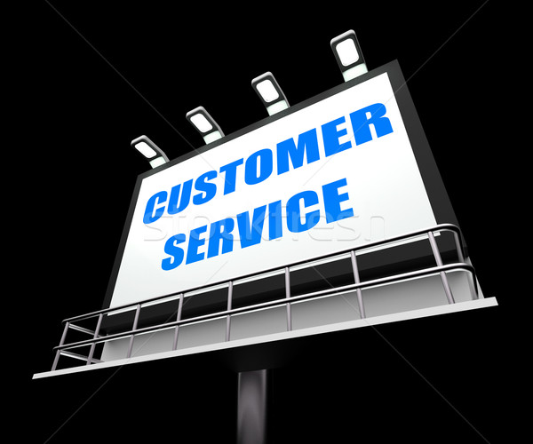 Customer Service Media Sign Means Consumer Assistance and Servin Stock photo © stuartmiles