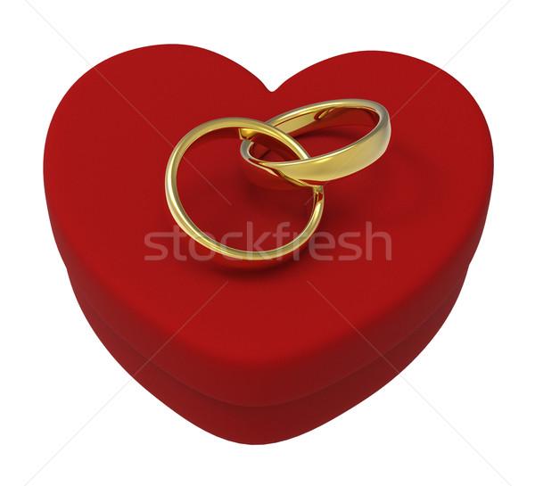 Trauringe Herz Feld zeigen Engagement Ehe Stock foto © stuartmiles