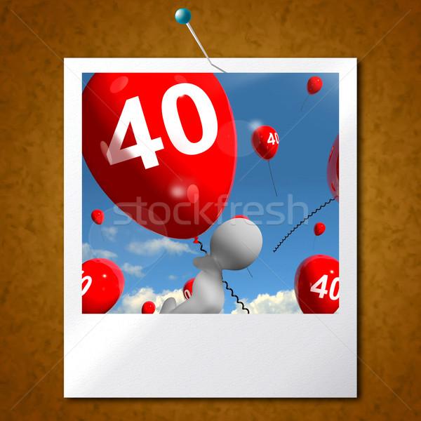 Number 40 Balloons Photo Shows Fortieth Happy Birthday Celebrati Stock photo © stuartmiles