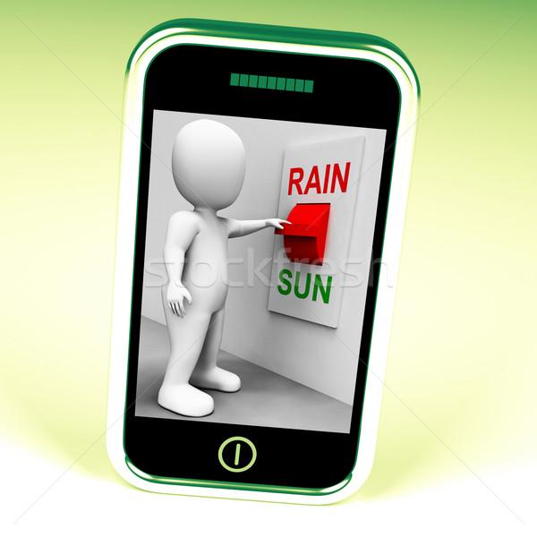 Zon regen schakelaar weer prognose zonnige Stockfoto © stuartmiles