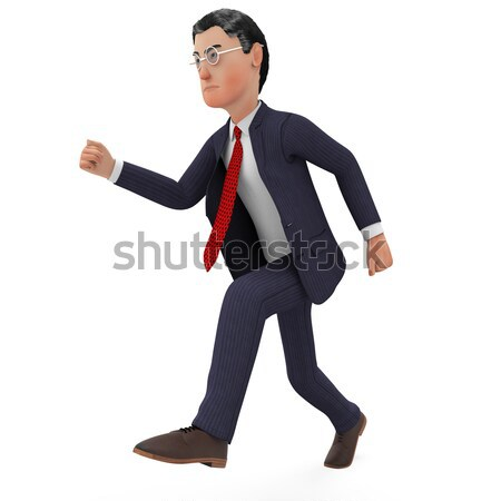 Businessman Walks Quickly Represents Fast Track And Brisk Stock photo © stuartmiles