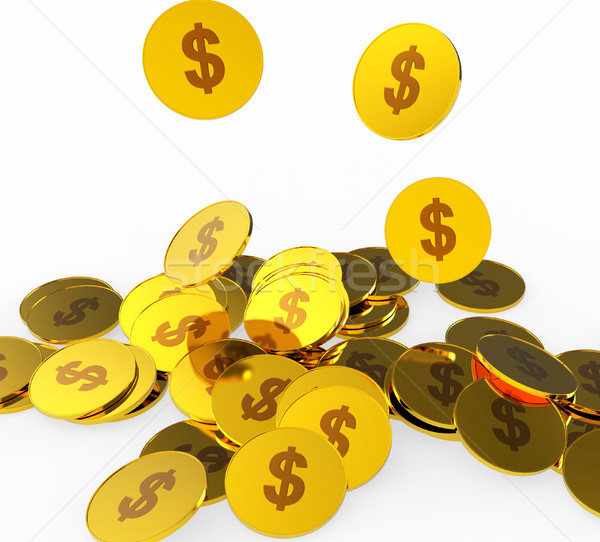 Dollar Coins Indicates American Dollars And Banking Stock photo © stuartmiles