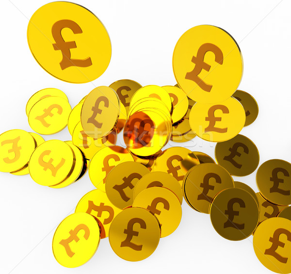 Stock photo: Pound Coins Means British Pounds And Finance