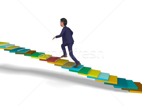 Businessman Going Up Shows Stair Steps And Progress Stock photo © stuartmiles