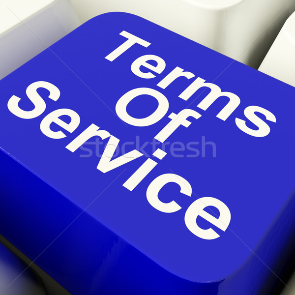 Terms Of Service Computer Key In Blue Showing Website Agreement Stock photo © stuartmiles