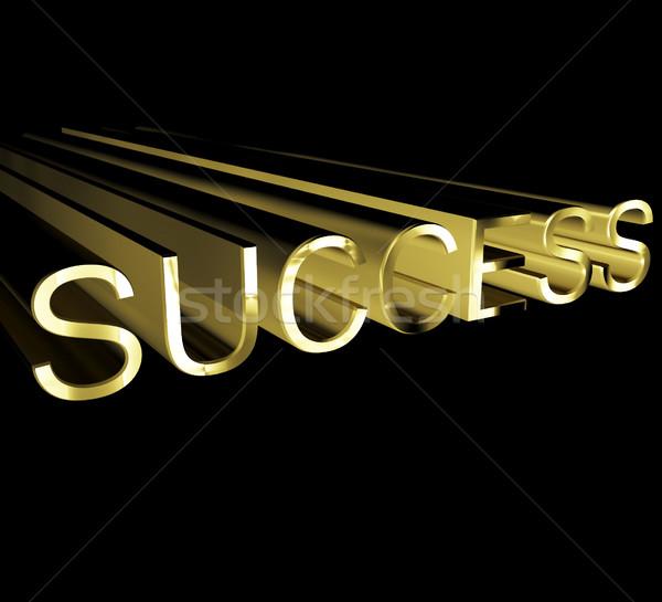 Stockfoto: Succes · tekst · goud · 3D · tonen · metaal