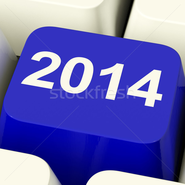 2014 Key On Keyboard Representing Year Two Thousand And Fourteen Stock photo © stuartmiles