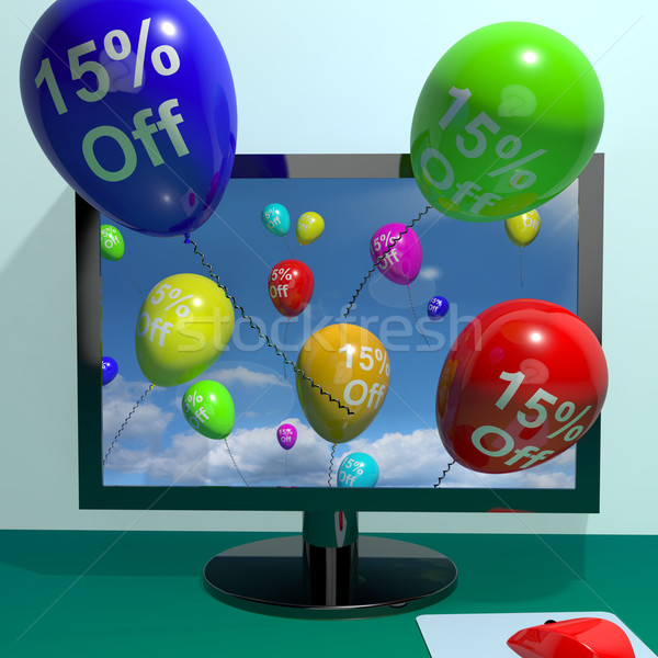 15% Off Balloons From Computer Showing Sale Discount Of Fifteen  Stock photo © stuartmiles