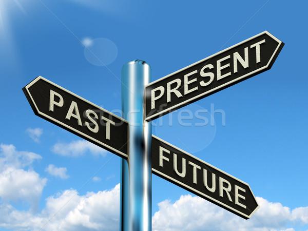 Passado apresentar futuro poste de sinalização evolução Foto stock © stuartmiles