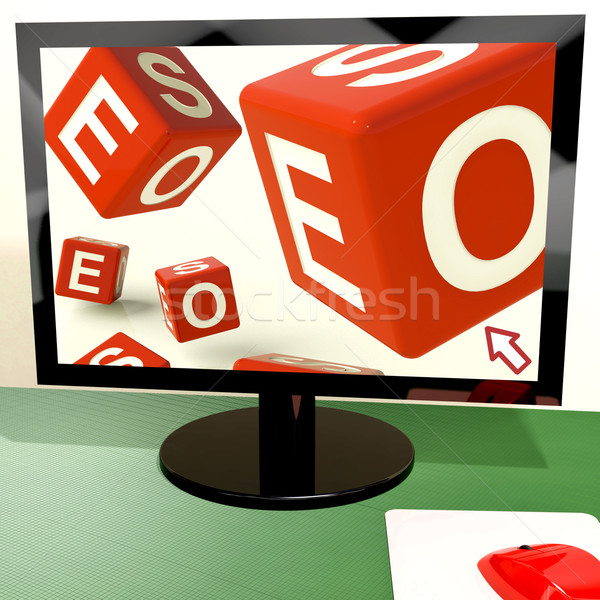 Seo Dice On Computer Showing Online Web Optimization Stock photo © stuartmiles