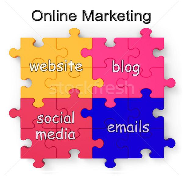 Online Marketing Puzzle Shows Websites And Blogs Сток-фото © stuartmiles