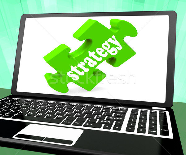 Strategie laptop tonen online oplossingen tactiek Stockfoto © stuartmiles