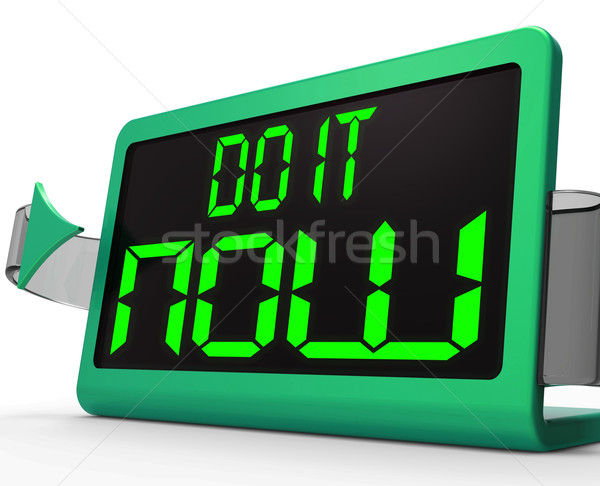 Stock photo: Do It  Now Clock Shows Urgency For Action
