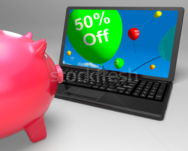 Fifty Percent Off On Laptop Showing Cheap Products Stock photo © stuartmiles