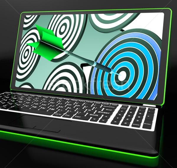 Hedef dizüstü bilgisayar çevrimiçi okçuluk çekim Stok fotoğraf © stuartmiles