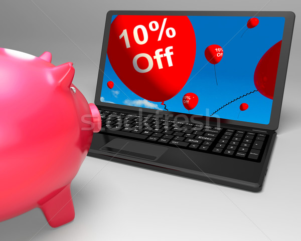 Ten Percent Off On Laptop Shows Small Discounts Stock photo © stuartmiles