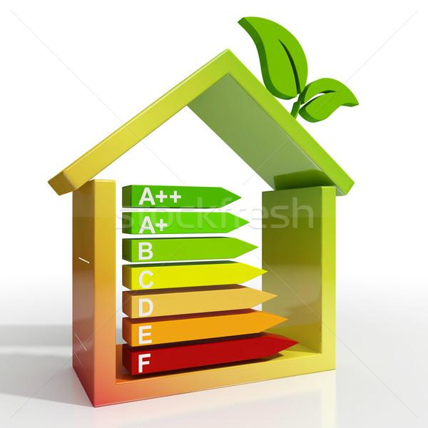 Efficacité énergétique icône vert logement Photo stock © stuartmiles
