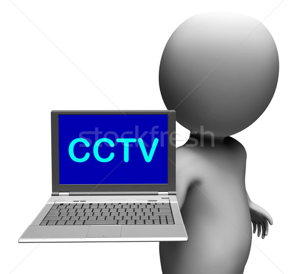 CCTV Laptop Shows Monitored Protection Or Monitoring Online Stock photo © stuartmiles