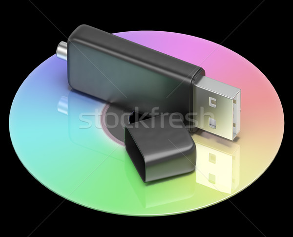 Stock photo: Usb And Dvd Memory Shows Portable Storage