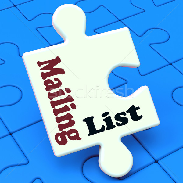 Mailing List Puzzle Shows Email Marketing Lists Online Stock photo © stuartmiles