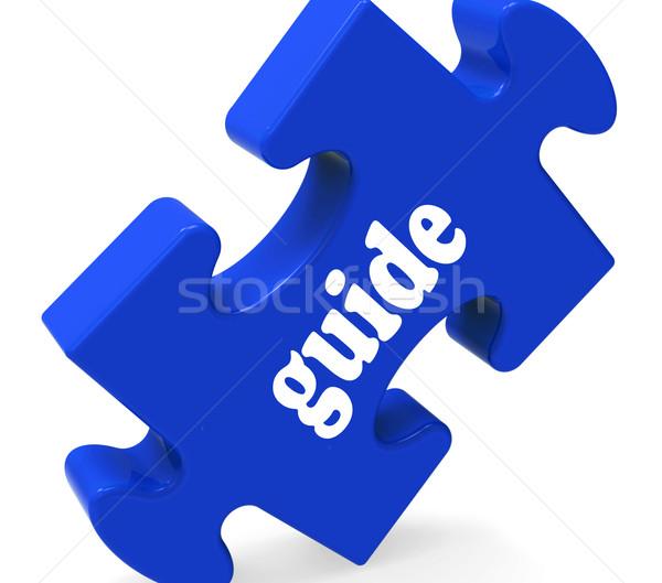 Begeleiden puzzel raadpleging instructies tonen Stockfoto © stuartmiles
