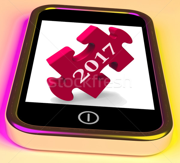 2017 On Smartphone Show Forecasting New Year Stock photo © stuartmiles
