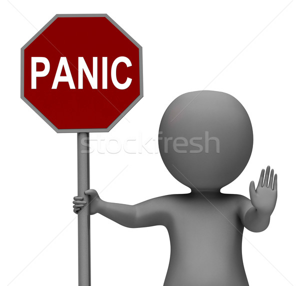 Panic Stop Sign Shows Stopping Anxiety Panicking Stock photo © stuartmiles