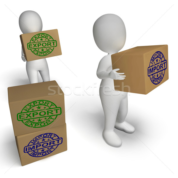 Import Export Boxes Show International Trade Importing And Expor Stock photo © stuartmiles