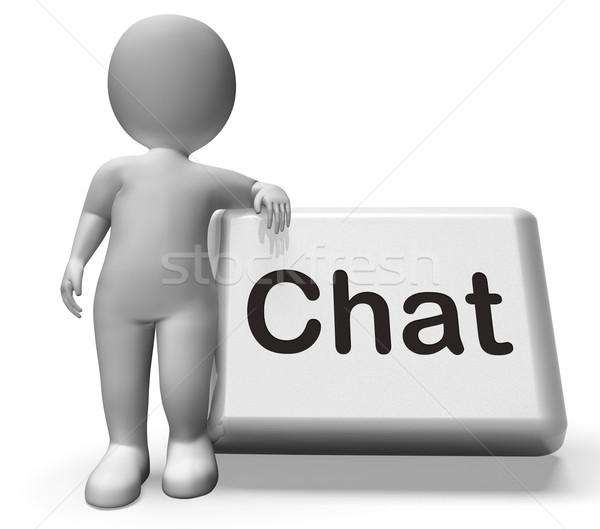 Chat gomb karakter beszél gépel sms chat Stock fotó © stuartmiles