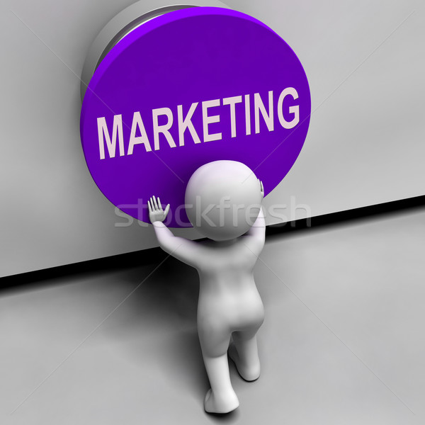 Marketing Button Means Brand Promotions And Advertising Stock photo © stuartmiles