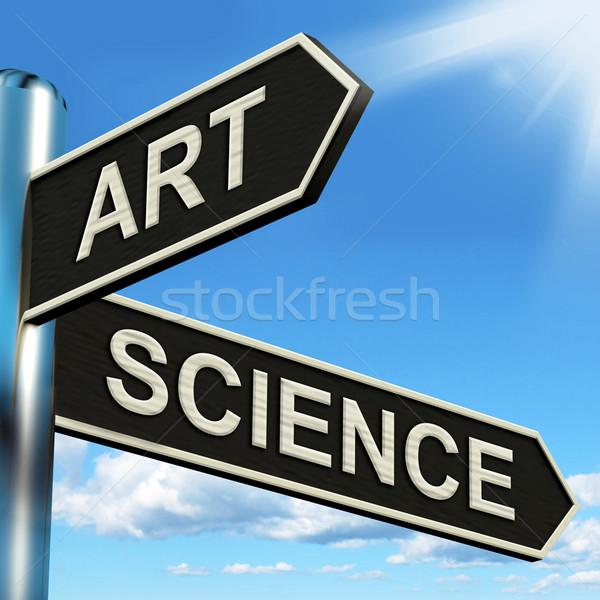 Kunst wetenschap wegwijzer creatieve wetenschappelijk betekenis Stockfoto © stuartmiles