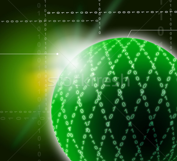 Green Ornamented Sphere Background Shows Geometrical Art And Dig Stock photo © stuartmiles