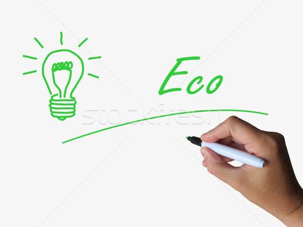 Eco and Lightbulb Refer to Energy Efficiency and Ecology Stock photo © stuartmiles