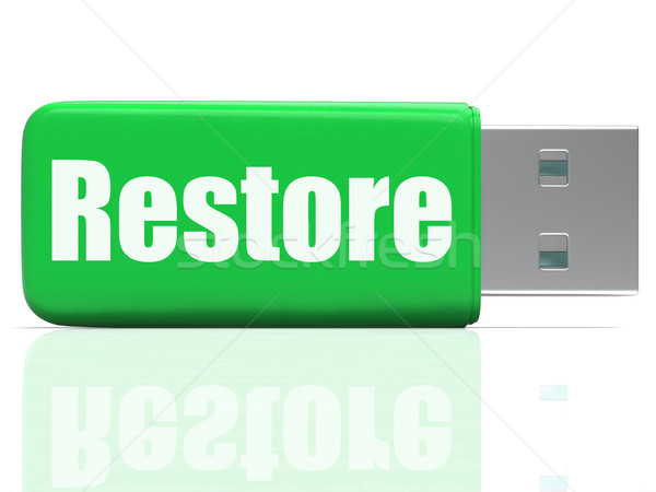 Stock photo: Restore Pen drive Shows Data Security And Restoration