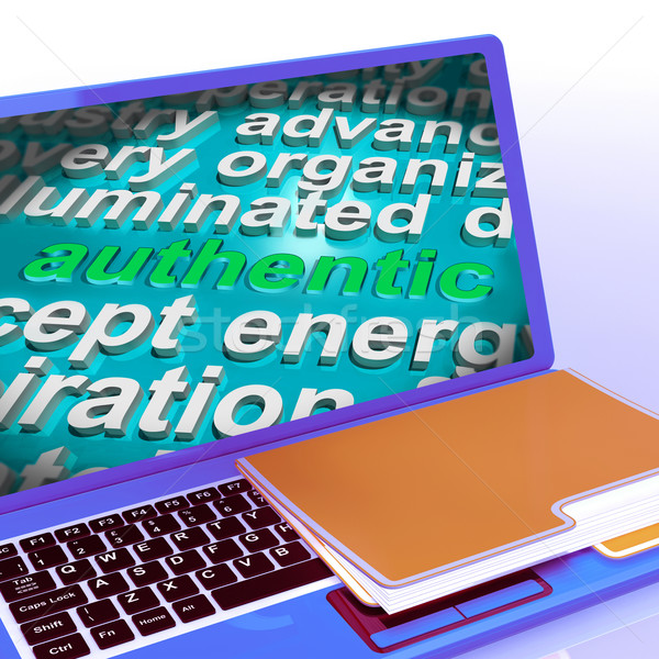 Authentic Word Cloud Laptop Shows Real Genuine Guaranteed Produc Stock photo © stuartmiles
