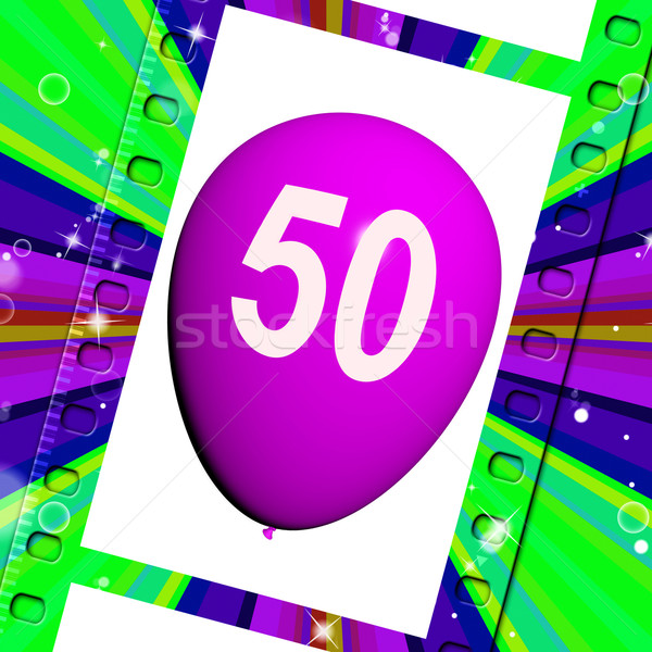 Balloon Shows Fiftieth Happy Birthday Celebration Stock photo © stuartmiles