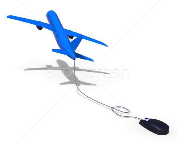 Online Flights Means World Wide Web And Aeroplane Stock photo © stuartmiles