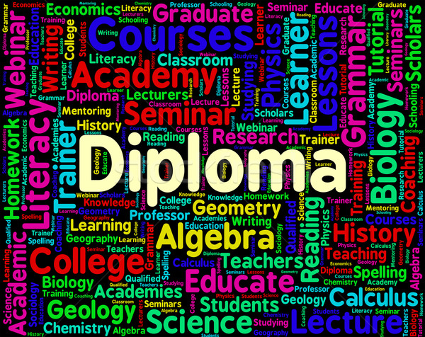 Diploma Word Represents Certificate Certificates And Text Stock photo © stuartmiles