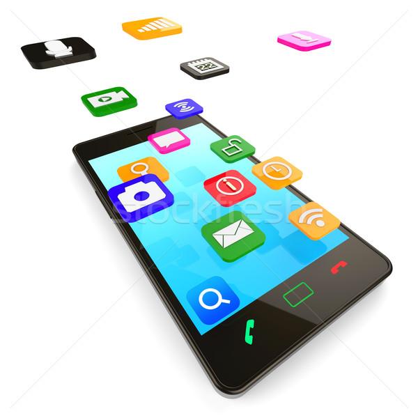 Social Media Phone Indicates News Feed And Blogs Stock photo © stuartmiles