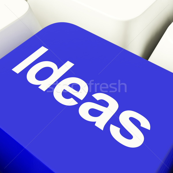 Ideas Computer Key In Blue Showing Concepts Or Creativity Stock photo © stuartmiles