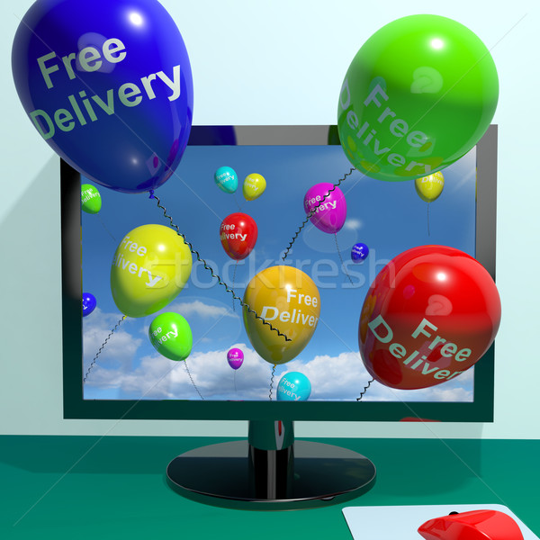 Free Delivery Balloons From Computer Showing No Charge Or Gratis Stock photo © stuartmiles