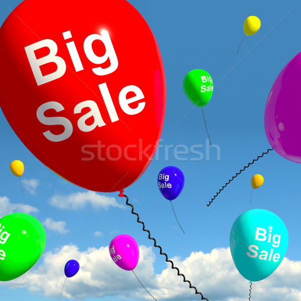 Stock photo: Big Sale Balloons In Sky Showing Promotions Discounts And Reduct