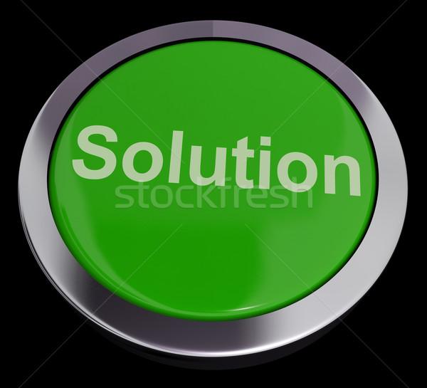 Stock fotó: Megoldás · számítógép · gomb · zöld · mutat · siker